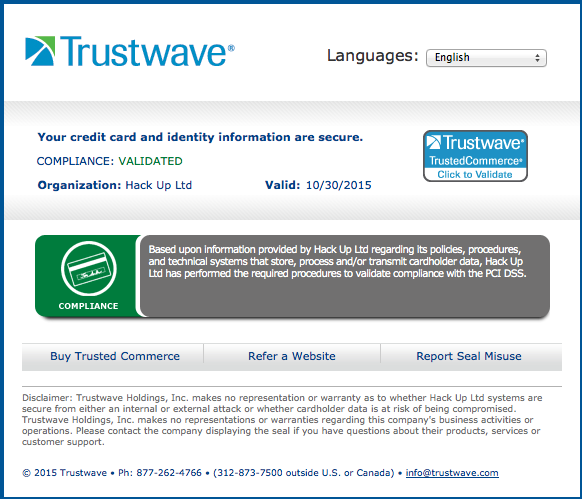 Online superior security certified by Trustwave