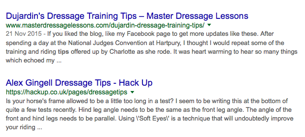 Alex\'s Dressage Tips now on Page 2 of Google